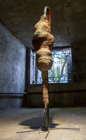 Leonardo Benzant  Caucasian Doll I, 2012-2017  clothes/fabric, string, monofilament, glass beads, gel medium, acrylic, vija (Ashiote), coffee grinds, powdered charcoal, glitter and miscellaneous  53 inches