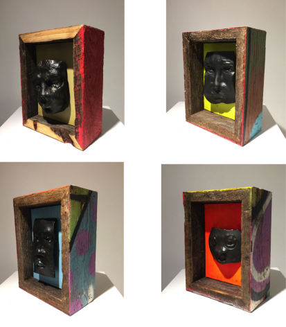 Harlan Mack Future Kin, 2016-2017 Forged steel faces, reclaimed wooden fence, reclaimed plywood, acrylic paint Individual dimensions: 10 x 8 X 4 inches (sizes may vary)