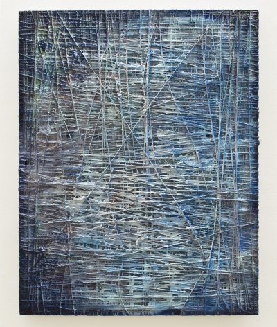 Vaughn Spann Twilight, 2017 yarn, fabric, clay, spray paint, acrylic paint on stretcher bars 56 x 44 inches signed verso by artist