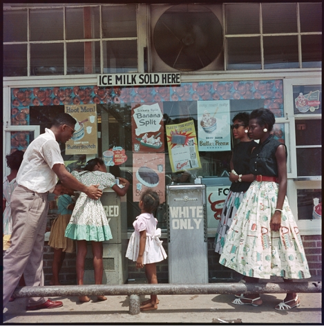 Gordon Parks At Segregated Drinking Fountain, Mobile, Alabama, 1956 archival pigment print 34 x 34 inches The Gordon Parks Foundation stamp verso