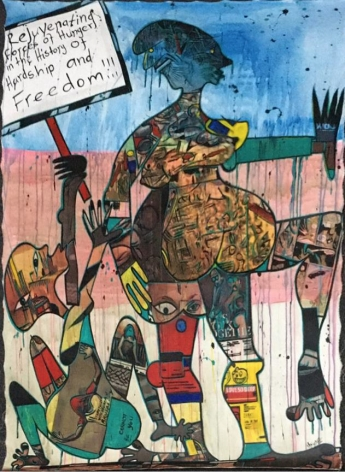 Blessing Ngobeni Silence Note, 2016 Mixed media on canvas 64 ½ x 141 7/10 inches