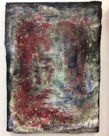 Vaughn Spann  Phantom, 2017  burlap, clay, acrylic paint, spray paint on stretcher bars  36 x 26 inches