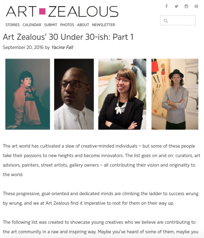 Art Zealous' 30 Under 30-ish: Part 1