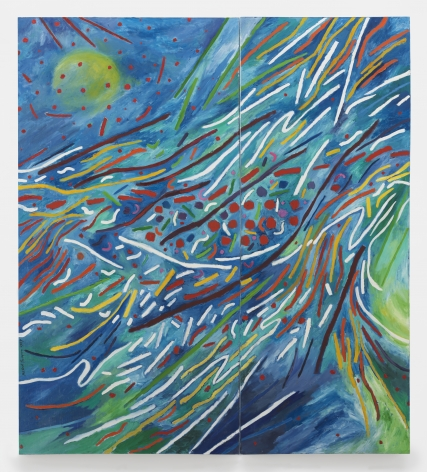Mildred Thompson Radiation Explorations, 1994 Oil on canvas Overall: 97.5 x 86.5 inches (247.7 x 219.7 cm) Panel 1 of 2: 97.5 x 49.5 inches (247.7 x 125.7 cm) Panel 2 of 2: 97.5 x 37 inches (247.7 x 94 cm) (GL12219)