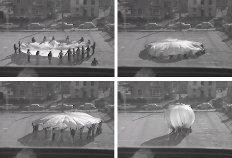 Ana Mendieta Created in collaboration with Henry Sabin Elementary School Students Parachute, 1973 1/2-inch reel-to-reel videotape transferred to digital media, black and white, sound Running time: 7:09 minutes Edition 1 of 8 with 3 APs