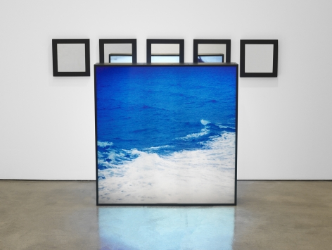 Alfredo Jaar Untitled (Water) E, 1990 Double-sided lightbox with two color transparencies, five mirrors Lightbox: 43.5 x 43 x 9.5 inches (110.5 x 109 x 24 cm) Mirrors, each: 12 x 12 x 2 inches (30.5 x 30.5 x 5 cm) Overall dimensions variable (GL8906)