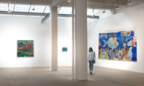 From left:Mangia Libro(c. 2011),Gate to the Blue(c.2002-07), andThe Sardine Fisherman's Funeral(2002)., Thisrendering was created to represent the scale of the artworks and is not anactual photograph.