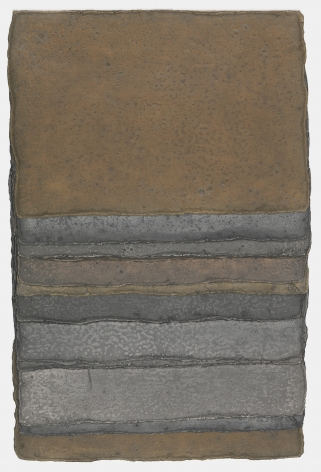 Michelle Stuart Strata Series: Comotan, Guatemala, 1981 Earth from graphite quarry area near Comotan, in So. Guatemala on muslin-mounted paper (sewn) 25.8 x 16.9 x .5 inches (65.4 x 42.9 x 1.3 cm) Framed: 30 x 21 x 2 in (76.2 x 53.3 x 5.1 cm) (GL14948)