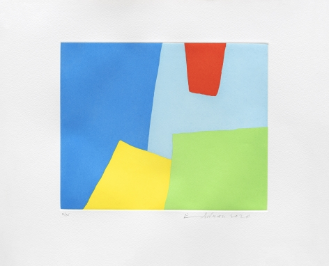 Etel Adnan Vertige, 2020 Signed recto Etching 15 x 17.5 inches (38 x 45.5 cm) Framed: 17.5 x 20.5 x 1.75 inches (44.5 x 52.1 x 4.4 cm) Edition of 35 (GP2723)