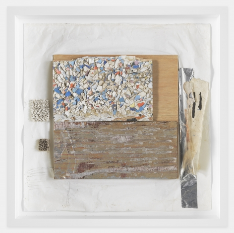 Leonardo Drew  Number 238, 2020  Paint, plaster, wood, paper and aluminum tape  24 x 24 x 2 inches (61 x 61 x 5.1 cm)  Framed: 26 x 26 x 3.75 inches (66 x 66 x 9.5 cm)  GL14354