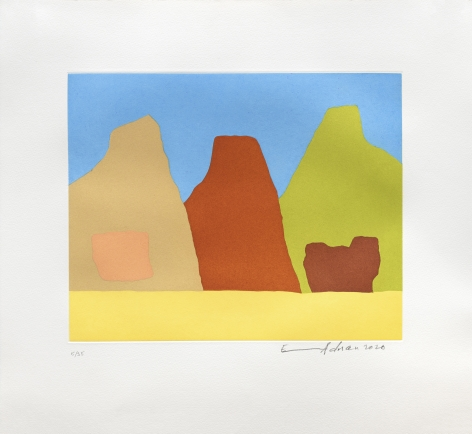 Etel Adnan Montagnes, 2020 Signed recto Etching 18 1/8 x 19 3/4 in (46 x 50 cm) Edition 3 of 35 (GP2724)