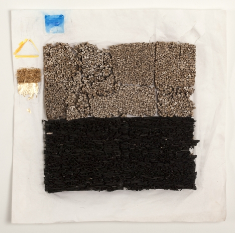 Leonardo Drew Number 49S, 2014 Wood, straw, gold leaf and gouache on paper 24 x 24 x 2 inches (61 x 61 x 5.1 cm) Framed: 27 x 27 x 4 inches (68.6 x 68.6 x 10.2 cm) (GL14521)