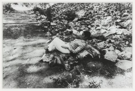 "Ana Mendieta Untitled (""Chac Mool""), 1976 Black and white photograph 8 x 10 inches (20.3 x 25.4 cm) Framed: 14 x 16.25 inches (35.6 x 41.3 cm) (GL8379)"