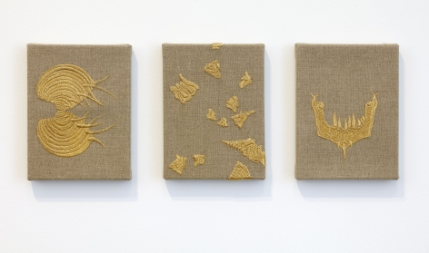 Angelo Filomeno Your Dream My Dream, 2010 Embroidery on linen Triptych, each: 8 x 6 inches (20.3 x 15.2 cm) GL8249