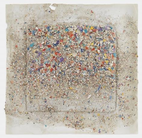 Leonardo Drew Number 270D, 2020 Plaster and paint on paper 23 x 23 x 2 inches (58.4 x 58.4 x 5.1 cm) Framed: 26 x 26 x 2 inches (66 x 66 x 5.1 cm) (GL14823)