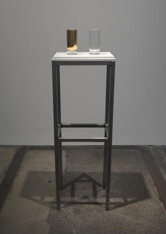 Cildo Meireles Aquaurum, 2015 Two crystal glasses, titanium, gold, and water Each cup: 6 11/16 inches (17 cm) high