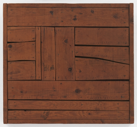 "Mildred Thompson Zylo-Probe, c. 1975 Signed and dated lower left. Inscribed on reverse, ""Wood work I - "" Found wood, nails 22 x 23.6 x 1.6 inches (56 x 60 x 4 cm) (GL13132)"