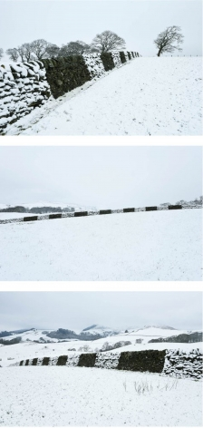 Andy Goldsworthy Dry, cold, wind blown snow / Brushed off wall / Dumfriesshire, Scotland / 29 December 2017, 2017 Suite of three unique archival inkjet prints Each: 20.9 x 31.5 inches (53 x 80 cm) Framed, each: 22.25 x 31.86 x 1.5 inches (56.5 x 80.9 x 3.8 cm) (GL13336)