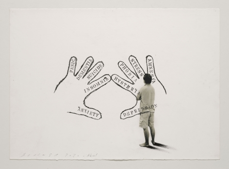 Jaume Plensa STILL 02, 2020 Mixed media on paper 20 x 27.5 inches (51 x 70 cm)