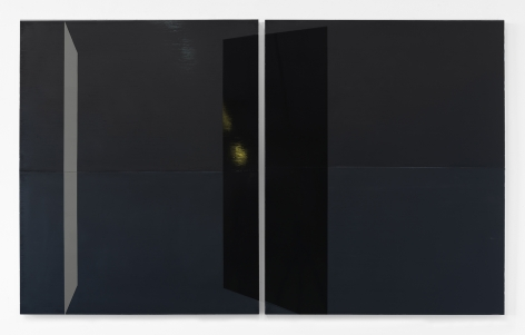 Kate Shepherd pond, 2019 Enamel on panel Diptych: 58 x 95 inches (147.3 x 241.3 cm) overall (Photographed with reflections) (GL 14289)