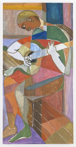 Ficre Ghebreyesus Seated Musician V, 2011 Acrylic on canvas 48 x 24 inches (121.9 x 61 cm) Framed: 50.5 x 26.5 x 2 inches (128.3 x 67.3 x 5.1 cm) GL13480