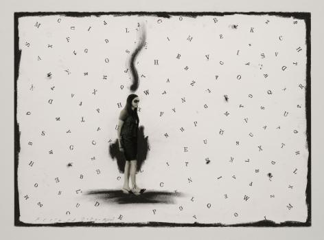 Jaume Plensa STILL 08, 2020 Mixed media on paper 20 x 27.5 inches (51 x 70 cm)
