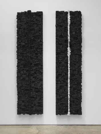 Leonardo Drew Number 229, 2019 Wood, paint and calcium carbonate Diptych, each: 96 x 24 x 7 inches (243.8 x 61 x 17.8 cm) GL14189