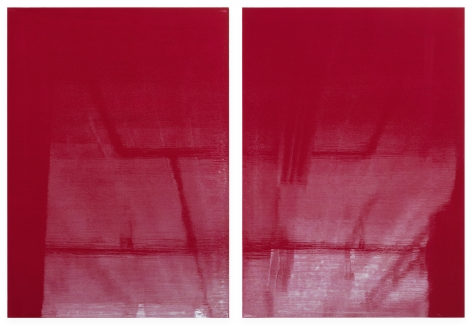 Kate Shepherd Crimson Lights Off, 2019 Enamel on panel Diptych; each: 42 x 30 inches (106.7 x 76.2 cm)  Overall: 42 x 60 inches (106.7 x 152.4 cm) GL14480 (Photographed with reflections)