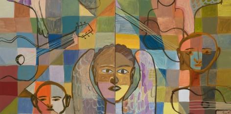 Ficre Ghebreyesus Angel Musician, 2011 Acrylic on canvas Diptych; each: 20 x 20 inches (50.8 x 50.8 cm) 22.3 x 42.3 x 2 inches (56.6 x 107.4 x 5 cm) (framed) GL13627