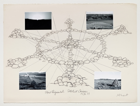 Michelle Stuart Stone Alignments/Solstice Cairns, 1978-79 Charcoal, black and white photographs 22.25 x 30 inches (56.5 x 76.2 cm) Framed: 25 x 32 5/8 x 1 1/2 in (63.5 x 82.9 x 3.8 cm) (GL15022)