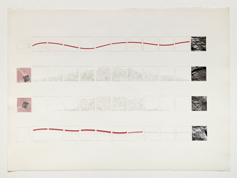 Michelle Stuart Wave Flow, 1969 Pencil, watercolor, photographs of moon 22 x 29 inches (55.9 x 73.7 cm) Framed: 24 5/8 x 32 5/8 x 1 1/2 in (62.5 x 82.9 x 3.8 cm) (GL15020)