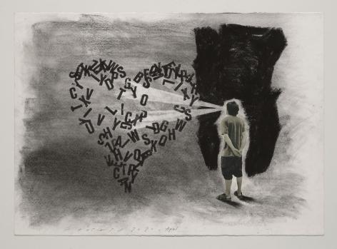 Jaume Plensa STILL 03, 2020 Mixed media on paper 20 x 27.5 inches (51 x 70 cm)