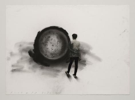 Jaume Plensa STILL 01, 2020 Mixed media on paper 20 x 27.5 inches (51 x 70 cm)