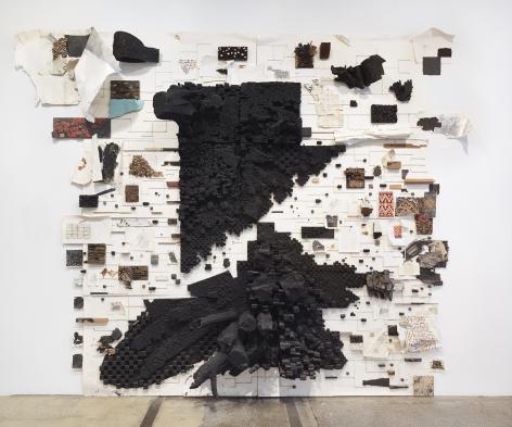 Leonardo Drew Number 304, 2021 Wood, paint, and black garnet stones on paper 149.5 x 179 x 26 inches (379.7 x 454.7 x 66 cm) (GL15088)