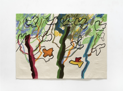Etel Adnan Au matin, 2017 Wool tapestry 56.3 x 78.75 inches (143 x 200 cm) Edition of 3 with 1 AP GP2298