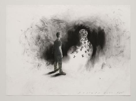Jaume Plensa STILL 04, 2020 Mixed media on paper 20 x 27.5 inches (51 x 70 cm)