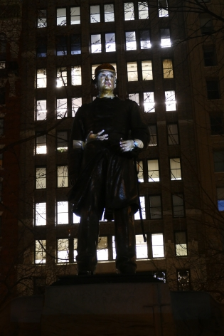 Krzysztof Wodiczko Monument, 2020 Public Projection in Madison Square Park, New York, New York Digital color video, sound, 25 minutes