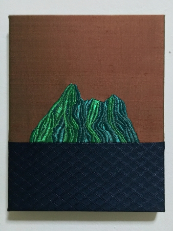 Islands, 2020-2021  Embroidery on silk  Each: 10 x 8 inches