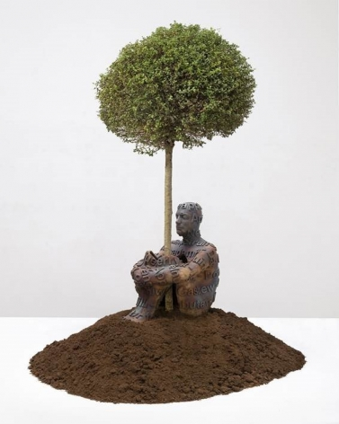 Jaume Plensa Self Portrait with Fruits, 2017 Bronze and tree 39.4 x 29.5 x 39.4 inches (100 x 75 x 100 cm) Edition 4 of 5 (#4/5) (GP2334)