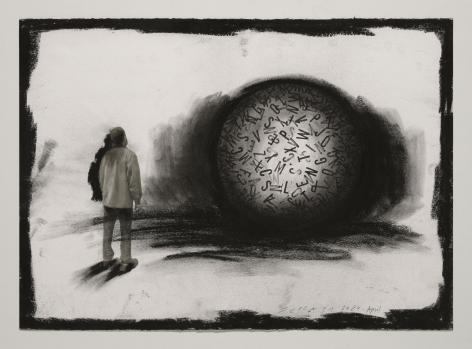 Jaume Plensa STILL 05, 2020 Mixed media on paper 20 x 27.5 inches (51 x 70 cm)