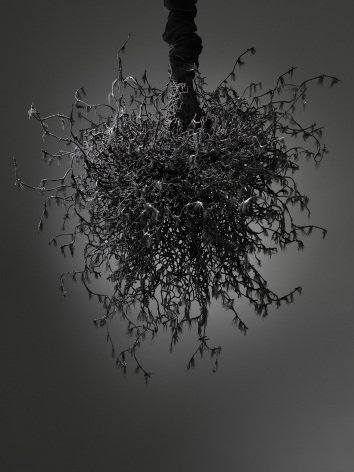 """Petah Coyne Untitled #1459 (Yōko Ogawa: The Memory Police), 2019 Black sand from pig iron casting, artificial feathers, acrylic polymer, paint, chicken-wire fencing, barbed wire, annealed wire, steel, cable, cable nuts, cable thimbles, quick-link shackles, jaw-to-jaw swivel, 3/8"""" Grade 30 proof coil chain, silk/rayon velvet, Velcro, thread, plastic 40 x 35 x 37 inches (101.6 x 88.9 x 94 cm) (GL14191)"""