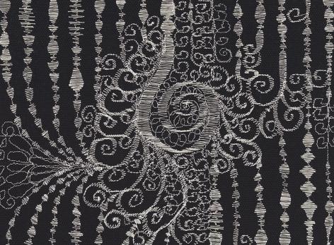 angelo filomeno, broadway, 2019, painting, metallic thread on cotton