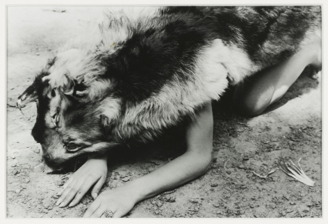 Ana Mendieta Dog, 1974 Black and white photograph 8 x 10 inches (20.3 x 25.4 cm) Framed: 15.25 x 17.6 x 1.25 inches (38.7 x 44.8 x 3.2 cm) GL8380