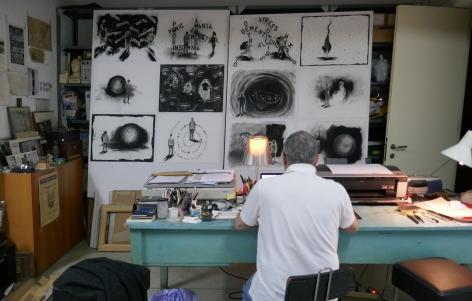 Jaume Plensa in his studio, Barcelona, Spain, April 2020