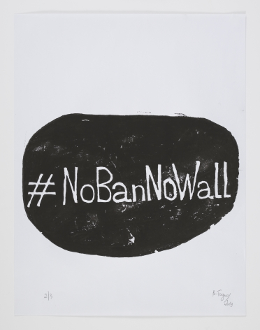 Barthélémy Toguo #NoBanNoWall, 2019 Woodblock print on paper 25.6 x 19.7 inches (65 x 50 cm) GP2421.1 Edition 1 of 3 Signed recto