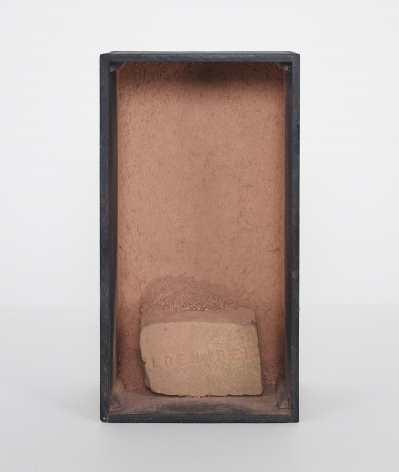 Michelle Stuart Lden Bell Rock, 1967-68 Rock, earth, wood, oil paint 8.4 x 4.4 x 2.9 inches (21.3 x 11.2 x 7.4 cm) (GL15023)