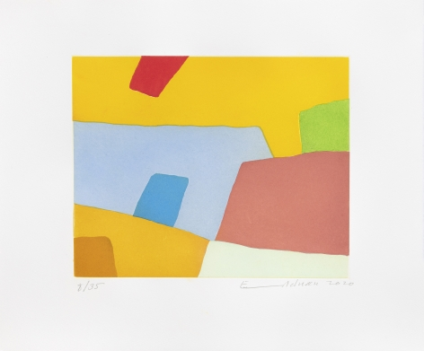 Etel Adnan Désordre, 2020 Signed recto Etching 15 x 17 7/8 in (38 x 45.5 cm) Edition 6 of 35 (GP2721)