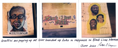 Petah Coyne  Untitled #1486 (Justice for Elijah McClain/Black Lives Matter)  Polaroid print 4.25 x 10.5 inches Street Art By: Beatriz Ramos (left); Unknown (center); @dpfstudio (right)