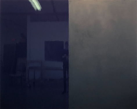 Kate Shepherd Surveillance, 2020 Enamel on panel Diptych; Overall: 68 x 85 inches (172.7 x 216 cm) GL14487 (Photographed with reflections)