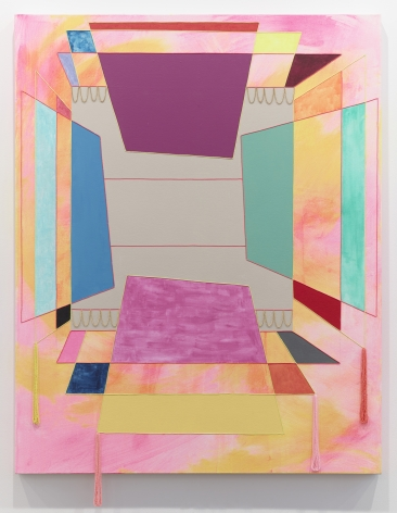 Sarah Cain The World, 2013 Acrylic, string, chain, pencil, and beads on canvas 64.5 x 48 inches (163.8 x 121.9 cm)